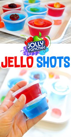 Jolly Rancher Jello Shots Recipe (Blue Raspberry + Tropical Punch) Check out these Jolly Rancher jello shots. We're making two delicious flavors so you can take your pick or make them both! Alcohol Jello Shots, Blue Jello Shots, Alcohol Drink Recipes, Summer Jello Shots, Jello Shots With Vodka, Raspberry Jello Shots, Lemon Jello, Jello Shooters Recipe Vodka, July 4th Jello Shots