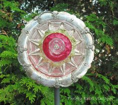 DIY repurposed glass plates dish flower for garden decor