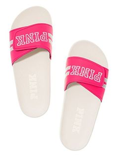 Victoria's Secret Pink Crossover Slides Pink/Triumph White Size: Large => Save this wonderfull item : Outdoor sandals Pink Sandals, Cute Sandals, Sport Sandals, Women Sandals, Snoopy Shoes, Nike Slippers, Pink Slides, Hype Shoes, Pink Love