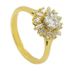 18K Yellow Gold Pave Certified Vintage Diamond Engagement Ring 1.1 Carat Weight #DiamondsCollection #Cocktail