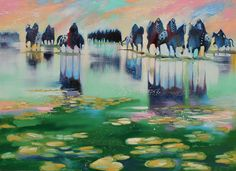 """Warriors In An Impressionistic Setting"" #art #southwest #horses #impressionism #warriors"