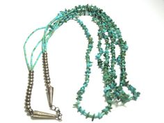 Vintage Turquoise Three Strand Necklace  31 long  by WatchandWares