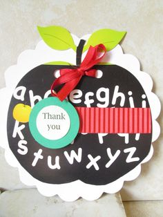 Handmade apple teacher card w/ gift card holder / special journal pages for message from student /parent