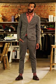 Uniforms for the Dedicated—Midlake blackish grey japanese blazer raw edge Afro Style, Cool Style, My Style, Stylish Men, Dapper, Black Men, Fall Winter, Suit Jacket, Menswear