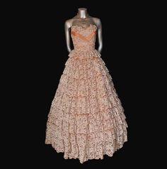 50's peach ivory lace wedding dress $345.00