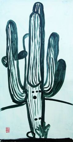 "Saatchi Art Artist Jelly Chen; Painting, ""Singing Saguaro"" #art"