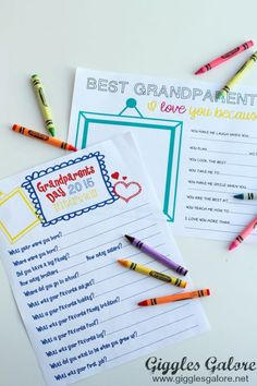 I Love You Because… Grandparents Day Gift & Free Printable Interview… Grandparents Day Activities, Grandparents Day Cards, National Grandparents Day, Quotes Girlfriend, Son Quotes, Baby Quotes, Family Quotes, Girl Quotes, Catholic Schools Week