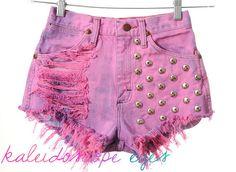Vintage Wrangler PINK Dyed Denim STUDDED High Waist Cut Off Shorts XS