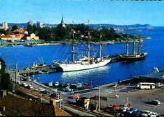 Vestfold fylke Larvik havnemotiv med seilskuter brukt 1972 Sailing Ships, Boat, Dinghy, Boats, Ship