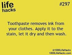 Toothpaste removes ink from clothes Hack