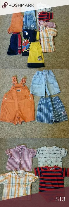 18 M Boys Summer Clothes Lot 2 pair of shorts, 1 Old Navy orange short over-alls, 1 pair of Izod swim trunks, 2 button downs, 1 onesie, 1 t-shirt and one matching Spiderman shirt & short set. Other