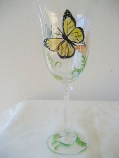 Hand painted glass wineglasses with butterfly by TivoliGardens