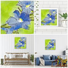 Flowerly Blues - Flowerly Abstracts - Square Art - Wall Art Prints - Digital Downloadable Prints #Square #Flowers #Blue #Green Printing Services, Online Printing, Wall Art Prints, Fine Art Prints, Square Art, Types Of Printer, Home Printers, Decorating Your Home, Blue Green