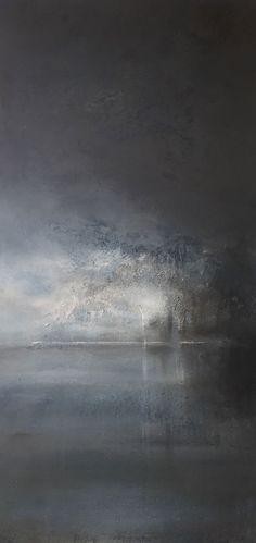 """Steinsfjorden mot Herøya II"" by Karianne Gruer Torp - Mixed media on canvas"