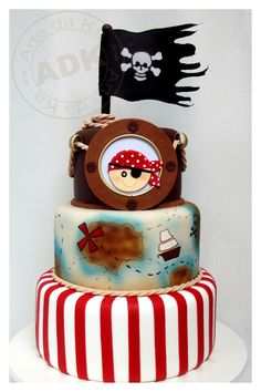 Amazing pirate birthday cake - twins are turning 3