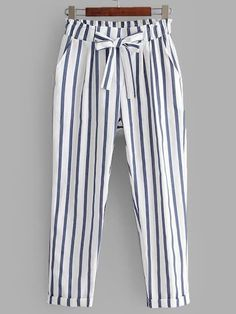 Product name: Vertical-Striped Rolled Hem Pants at SHEIN, Category: PantsStriped Bowknot High Waisted Pants - White - White M - zafulTo find out about the [good_name] at SHEIN, part of our latest Pants ready to shop online today! Fashion Pants, Fashion Outfits, Sporty Outfits, Salwar Pants, How To Hem Pants, Type Of Pants, Rolled Hem, Vertical Stripes, Pants Pattern