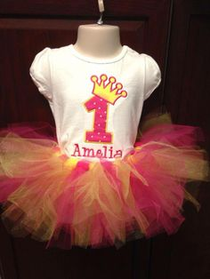 Birthday Princess Tutu Set - Personalized with Name and Age - Embroidered Shirt or Onesie and Tutu