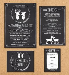 "Oh Deer! Rustikale Tafel Hochzeit Einladung Set: Einladung 5 x 7 "", Info 4 x 6"", Karte RSVP 3.5 "", danke Postkarte 4.25x5.5"""