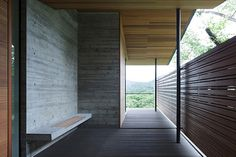 concrete walls and bench