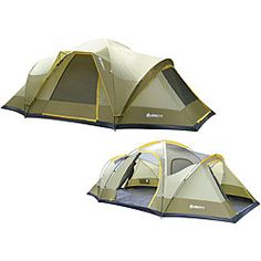This large three room dome tent is easy and quick to set up and provides plenty of interior volume and floor space with three twin track doors. This Wolf Mt. family camping tent also highlights a bath tub floor to help keep things dry.