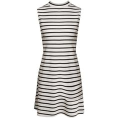 Boohoo Emma Stripe High Neck A-Line Shift Dress ($8) ❤ liked on Polyvore featuring dresses, striped turtleneck dress, high neck dress, striped turtleneck, boohoo dresses and striped dress