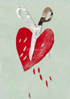 scissor cutting heart illustration by Stefanie Clemen