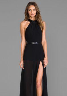 JARLO Juliet Maxi Dress with Slit in Black