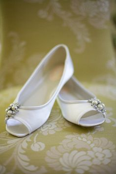 Adorable little white flats for the bride! {Lake View Studios}