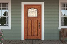 db-a362-ft Aurora fiberglass doors are made to look and feel like solid wood, without any of the maintenance. Craftsman style door shown is displayed with two full glass sidelights, and decorative glass.