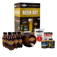 My brother really wants to start making his own beers but has absolutely 0 experience. Would this be a good kit for a beginner? I was thinking of getting it for a Christmas gift. making for beginners homebrew recipes Beer Making Kits, Wine Making, Home Brew Supplies, Craft Supplies, Craft Beer Gifts, Craft Bier, Beer Brewing Kits, Homebrew Recipes, Auction Baskets