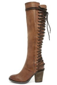 """The Steve Madden Rikter Cognac Leather Knee High Heel Boots are off the charts cute with a gorgeous genuine leather upper, and almond toe. Decorative dark brown laces weave up the back of a fitted, 17"""""""" shaft, that is perfect for slender calves. Zippered instep. Collar has a 14"""""""" interior circumference. #CuteDresses #TrendyTops, #FashionShoes #JuniorsClothing"""