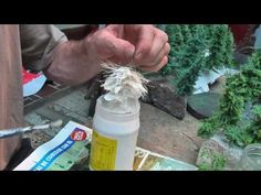 diy minature pine trees made of rope, colored sand, wire and glue