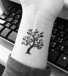 Awesome black tree tiny tattoo