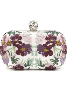 Shop Alexander McQueen 'Skull' floral embroidered clutch in Marissa Collections from Naples, Florida.