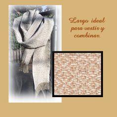 Bufanda tejida en telar de lizos. Diseño de diamantes. Handwoven scarf