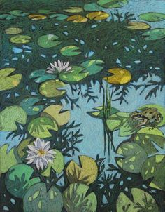 Buy Pond, Pastel drawing by Natalia Leonova on Artfinder. Discover thousands of other original paintings, prints, sculptures and photography from independent artists. Art And Illustration, Frosch Illustration, Illustrations, Kunst Inspo, Art Inspo, Aesthetic Art, Aesthetic Anime, Collage Mural, Arte Indie