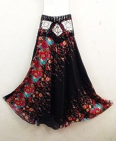 BLACK FLORAL PEASANT BOHO GYPSY CASUAL LONG SKIRT COTTON SUMMER RAYON ONE SIZE