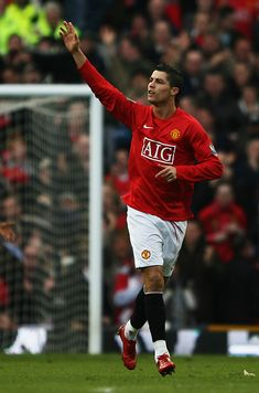 Cristiano Ronaldo of Manchester United celebrates scoring his teams opening goal during the Barclays Premier League match between Manchester United and Arsenal at Old Trafford on April 2008 in. Get premium, high resolution news photos at Getty Images Manchester United Ronaldo, Manchester United Old Trafford, Cristiano Ronaldo Manchester, Cristiano Ronaldo Juventus, Manchester United Players, Cristiano Ronaldo Lionel Messi, Cristiano Ronaldo Cr7, Manchester England, Cristino Ronaldo