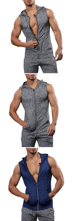 US$16.31 (47% OFF) Gym Outfit: Mens Hooded Sleeveless Zipper Vest / Quick-drying Jogging Fitness Camping Jersey & Sport Tank Tops