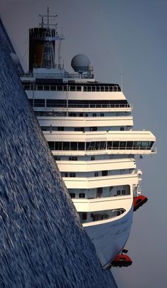 The wreck of the Costa Concordia with tilted perspective.