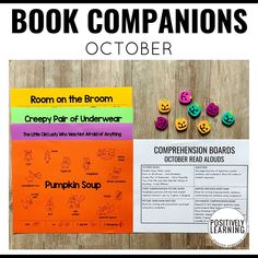 October Book Companions for K-2 reading groups. Halloween questions with visual support. From Positively Learning Blog #bookcompanions #readalouds #halloweenbooks