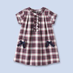 Plaid flannel dress for baby, girl