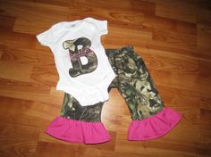 Custom Monogram Mossy Oak Camo Outfit  For Girl's by BesBowtique, $35.00