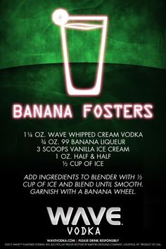 Go bananas with a WAVE Banana Fosters! #DrinkRecipes #cocktails #WAVE #WAVEWhippedCream