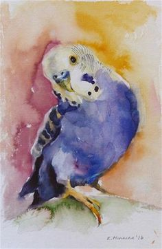 "Daily Paintworks - - Original Fine Art for Sale - © Katya Minkina Looks like my ""Widget"" Watercolor Bird, Watercolor Animals, Watercolor Paintings, Watercolor Portraits, Watercolor Landscape, Abstract Paintings, Watercolours, Art Paintings, Wildlife Art"