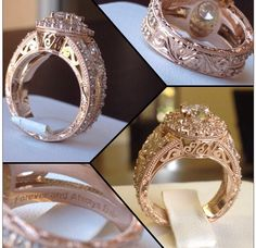 Custom Made Rose Gold Antique Style Wedding Ring with Hand Engraving Throughout #JewelerByDesign