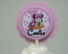 Baby Minnie Mouse 1st  Birthday Pink Cupcake Toppers Set of 12 Personalized