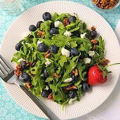 Delightfully delicious! Arugula & Blueberry Salad w/ Goat Cheese, Honey Sunflower Seeds & Fresh Strawberry Vinaigrette