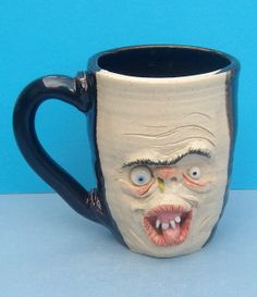 Snotty Nosed Fiend with Uni-Brow face mug One of a Kind artist signed, JD Cotton 14 oz Making Faces Pottery