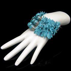 Vintage Faux Turquoise Beads Chunky Bracelet 3 by MyClassicJewelry